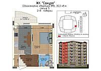 1-но кімнатна квартира 35,2 кв.м., фото 1