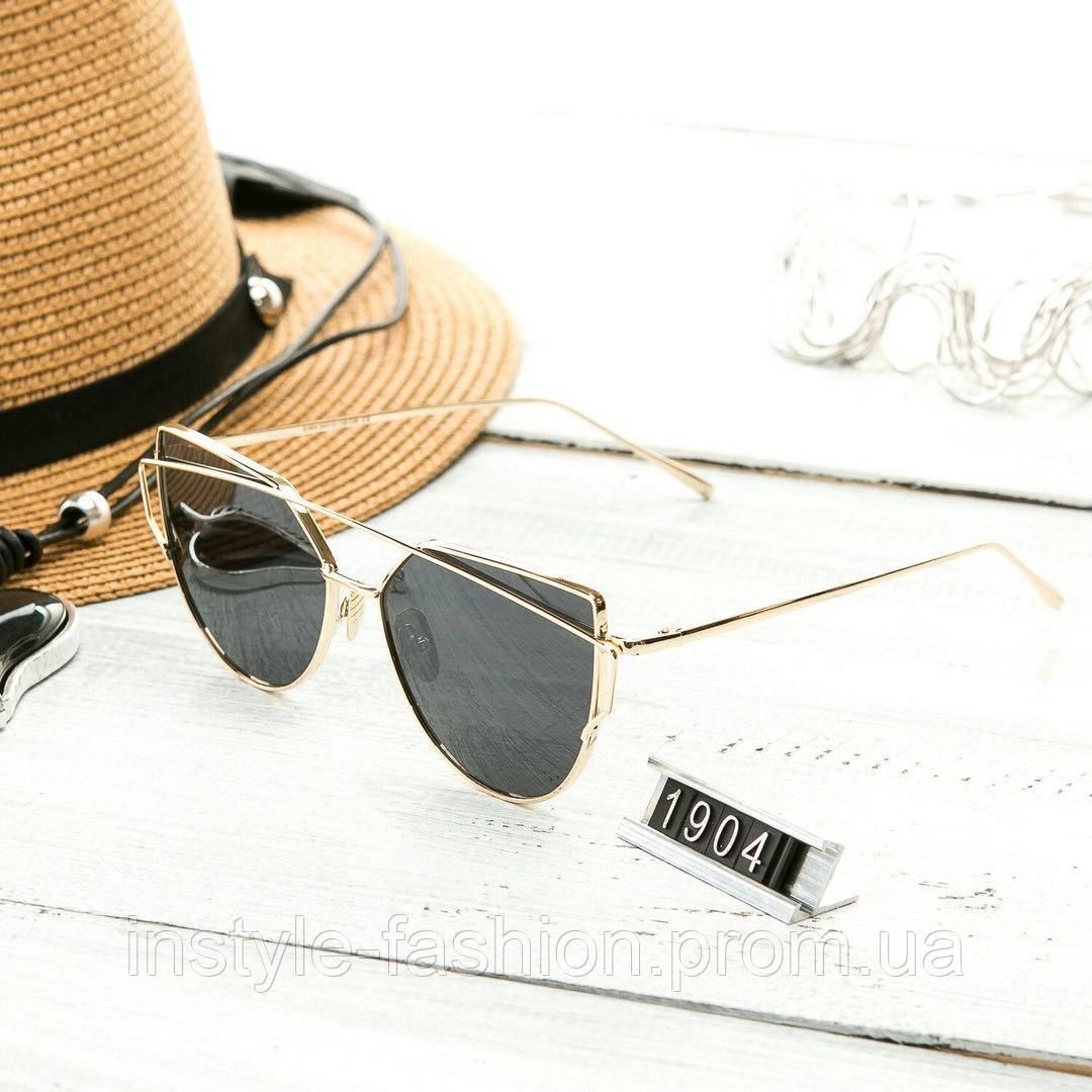 Женские очень стильные и модные очки Hend Made в стиле реплики Диор в золотой оправе