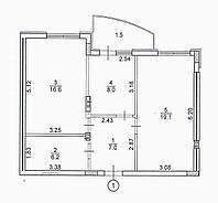 2-х кімнатна квартира, 58,4 кв.м., фото 1