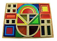 Конструктор goki деревянный Радужные строительные блоки с окнами 58620