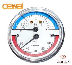 Термоманометр для отопления CEWAL 4 бара 120 °C (D 80 мм.) фронтальный (Италия)