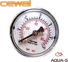 """Манометр для отопления CEWAL 6 бар G1/4"""" (D 50 мм.) фронтальный (Италия)"""
