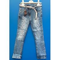 Летние голубые джинсы со стразами для девочек  6-12 лет