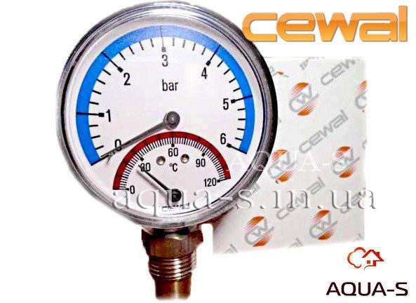 Термоманометр для отопления CEWAL 6 бар 120 °C (D 80 мм) вертикальный (Италия)