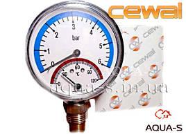 Термоманометр для отопления CEWAL 4 бара 120 °C (D 80 мм.) вертикальный (Италия)