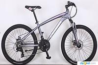 Горный подростковый велосипед 24 дюйма (16 рама) Azimut  CROSSER SUMMER  (2017 года) серо-розовый***