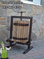 Большой дубовый садовый пресс для получения сока из яблок и винограда объёмом - 30 л.