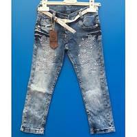 Летние голубые джинсы со стразами для девочек  5-7 лет