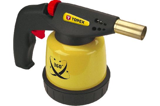 Лампа паяльная газовая, картриджи 190 г, пьезозажигание (для работы в каждой позиции) TOPEX 44E143