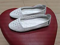 Летние туфли с перфорацией из натуральной кожи  ALLSHOES 6802- 2 - к,  белые