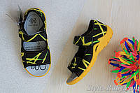 Желтые текстильные босоножки на мальчика польская детская обувь тм 3F р.27,28,29