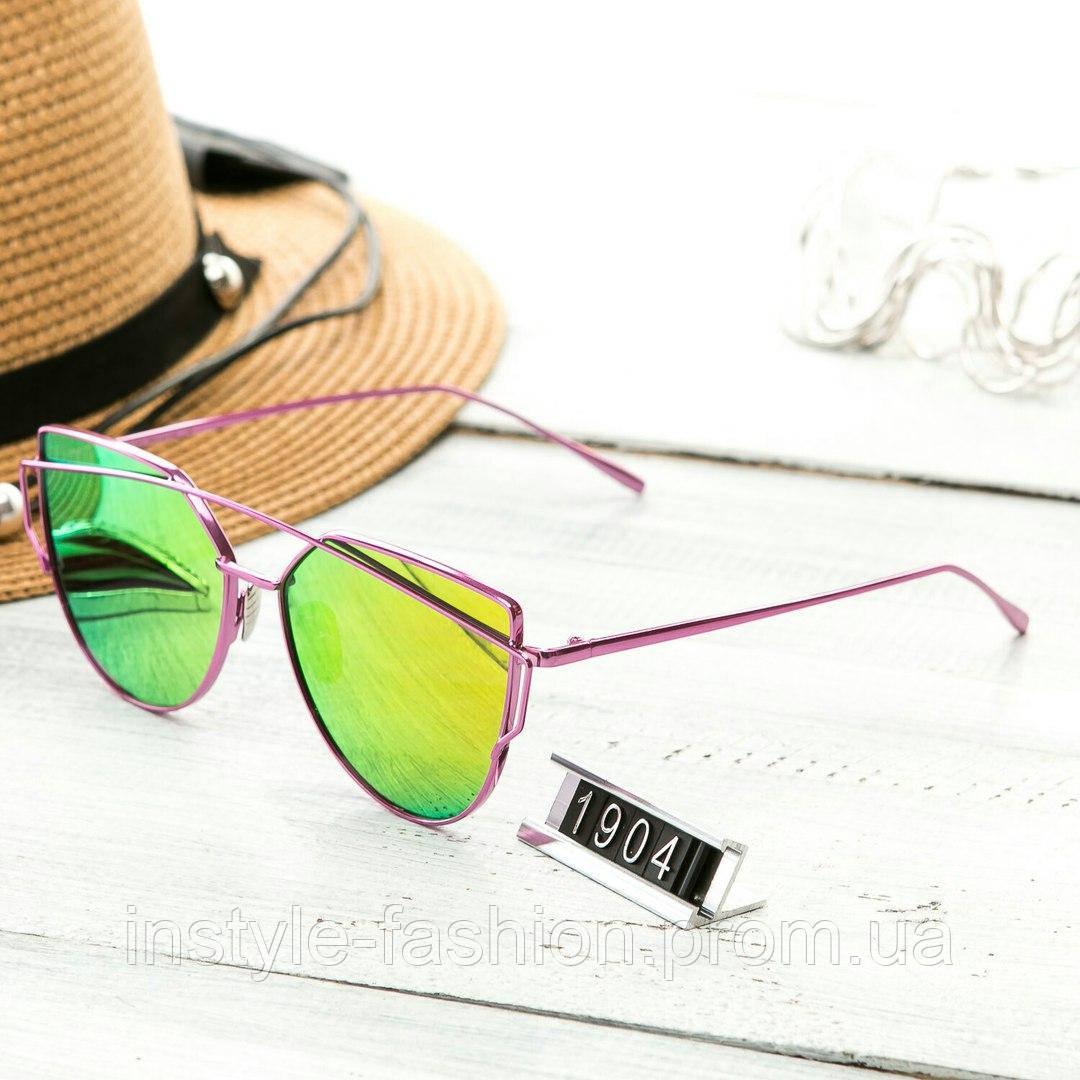 Женские очень стильные и модные очки Hend Made в стиле реплика Диор малиновые