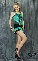 "Женский костюм с шортами ""Манго""-бирюза (майка+юбка-шорты), фото 1"