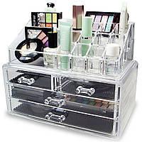 Акриловый органайзер для косметики Cosmetic Storage Box  4 секции  + ПОДАРОК: Держатель для телефонa L-301