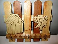 Ключница деревянная на 3 ключа , фото 1