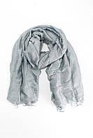 Серый однотонный шарф из льна и шелка