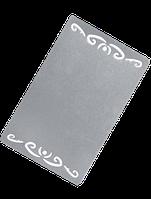 Визитка металлическая (АЖУР) с орнаментом 86*54*0.32 мм под сублимацию (СЕРЕБРО)