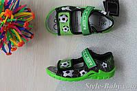 Открытые босоножки с рисунком футбол на мальчика, польская текстильная обувь тм 3F р.25,29