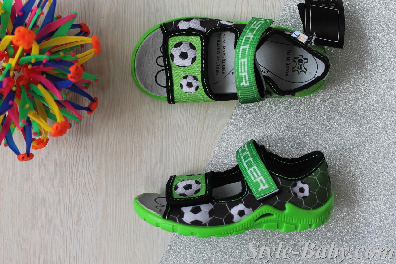 Открытые босоножки с рисунком футбол на мальчика, польская текстильная обувь тм 3F р.25 - Style-Baby детский магазин в Киеве