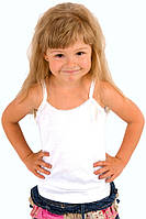 Детская майка для девочек белая летняя трикотажная бельевая хлопок узкая бретелька (Украина)