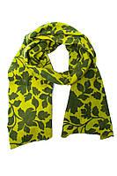 Женский ярко-желтый шарф с цветочным принтом