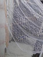 Тюль вышивка на микросетке Веточка пудра