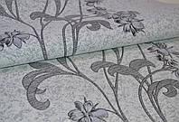 Обои на стену, винил на флизе, Аида, цветок, лиана, есть пара, К501 - 10, серый к черному, 1,06*10м