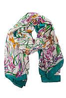 Женский шарф зеленого цвета с принтом в виде цветов