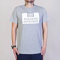 Футболка Weekend offender серая с белым логотипом,унисекс (мужская,женская,детская)