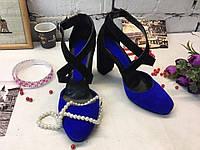 Женские туфли-босоножки, натуральная замша