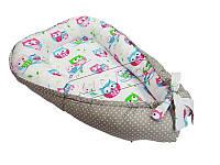 Кокон-гнездышко для новорожденных. Совы-горошек.