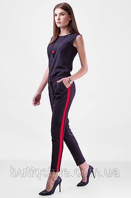 Стильные укороченные чёрные брюки с лампасами