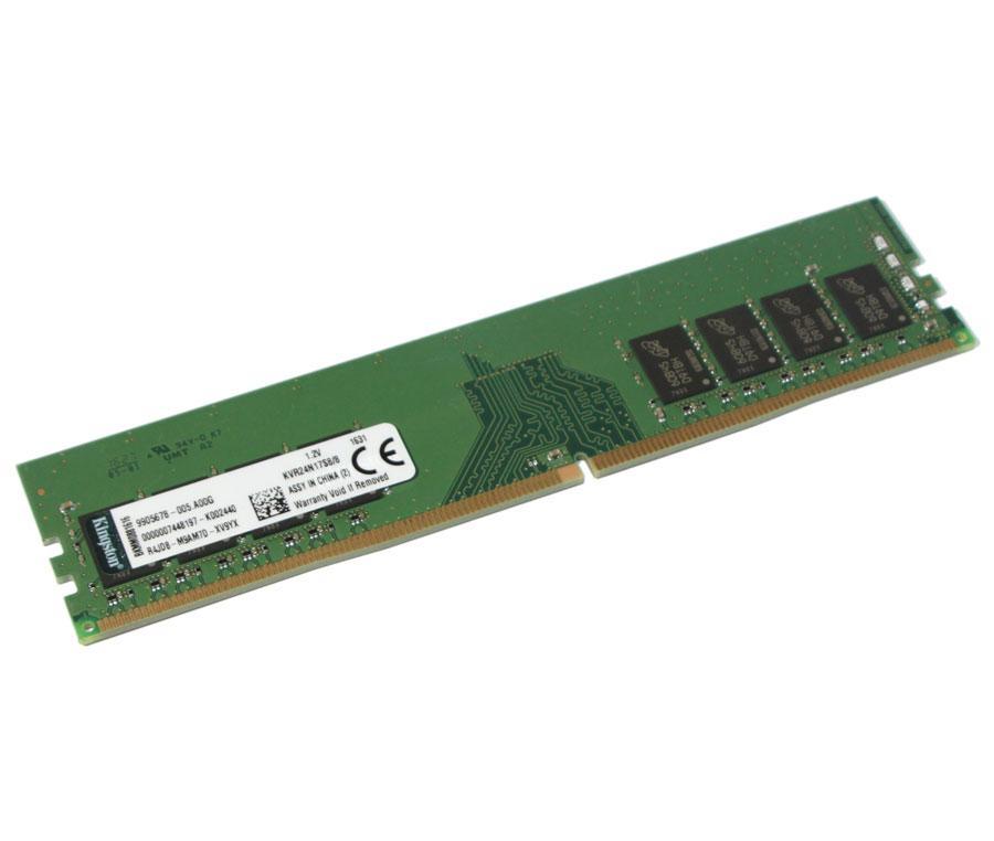 Оперативная память для компьютера 8Gb DDR4, 2400 MHz, Kingston, 17-17-17, 1.2V (KVR24N17S8/8)