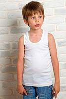 Детская майка для мальчиков белая спортивная трикотажная бельевая хлопок широкая бретелька (Украина)