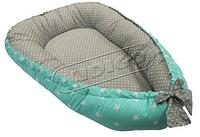 Кокон-гнездышко для новорожденных. Звездочки-горошек.