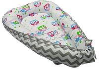 Кокон-гнездышко для новорожденных. Зигзаги-совы.