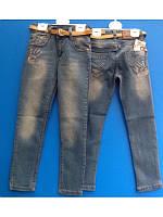 Модные потертые джинсы со стразами для девочек 116-128