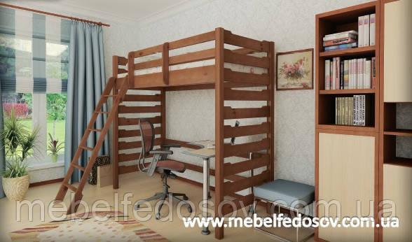 Кровать чердак Троя 2 90 (Мебигранд/Mebigrand) 1020х2000(2100)х1900мм