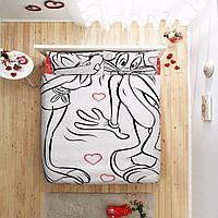 Двуспальное евро постельное белье TAC Bugs Bunny & Lola Ранфорс (простынь на резинке)