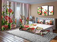 """Фото Комплект для спальни """"Красные розы и бабочки"""""""