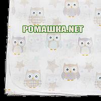 Белая детская ситцевая (ситец) пеленка 110х90 см с русунками для пеленания тонкая 3115-22 Бирюзовый