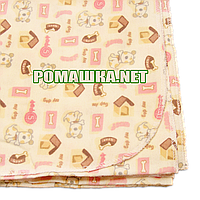 Детская фланелевая пелёнка 110х90 см (фланель, байковая, байка) теплая для пеленания 3265 Розовый