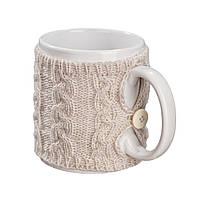 Чашка в вязаном чехле Ohaina 10х10 цвет какао, фото 1