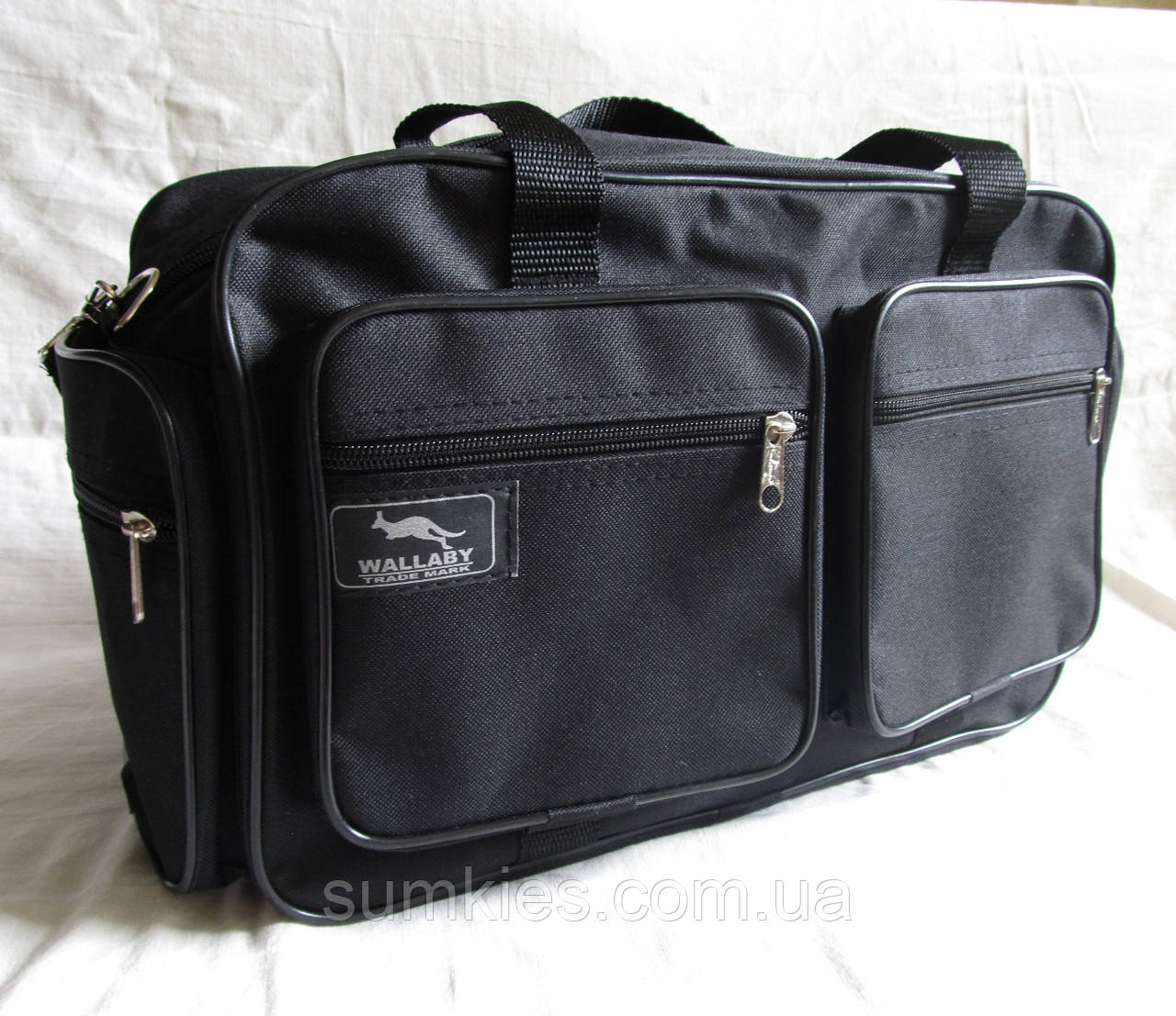 Мужская сумка через плечо дорожная много карманов портфель А4+ в2760 черная  38x24x16см