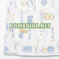Белая детская ситцевая (ситец) пеленка 110х90 см с русунками для пеленания тонкая 3115-24 Голубой