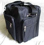 Мужская сумка через плечо дорожная очень крепкая и вместительная А4+ в2691 черная 42x28x19см, фото 3