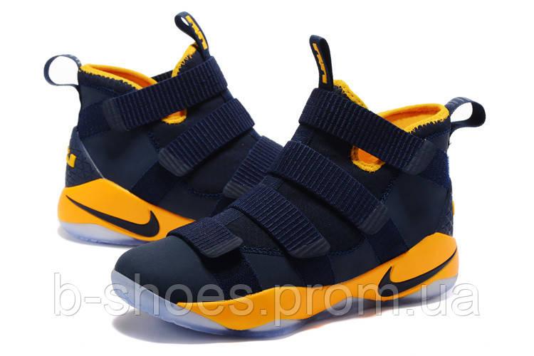 Мужские баскетбольные кроссовки Nike LeBron Zoom Soldier 11 (Dark Blue/Yellow)