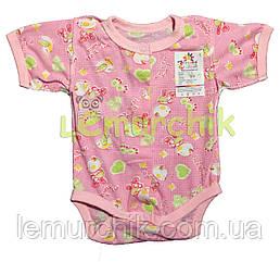 Бодік для новонароджених 100% бавовна (кулір) 56, 62 р-н, рожевий