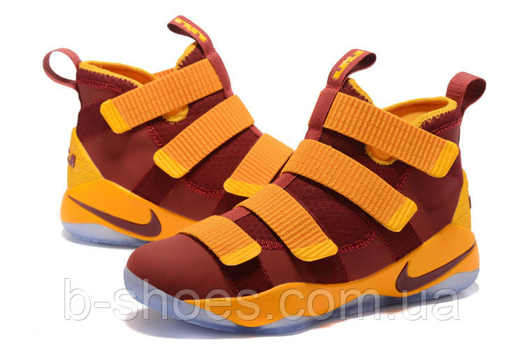 Мужские баскетбольные кроссовки Nike LeBron Zoom Soldier 11 (Vinous/Yellow)