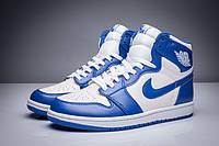 Мужские Баскетбольные кроссовки Air Jordan Retro 1 (White/Blue) , фото 1